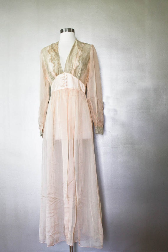 1920s Lingerie Bed Robe Romantic Lace Sheer Pink