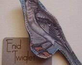 SALE Victorian song bird illustration printed fabric brooch