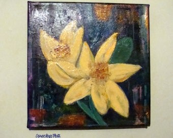 """Free Shipping/Yellow Lilies / Original Painting / Acrilic  Painting on 7,9"""" x 7,9"""" (20 x 20 cm) Artistic Canvas/ Home decor/ Gift ideas"""
