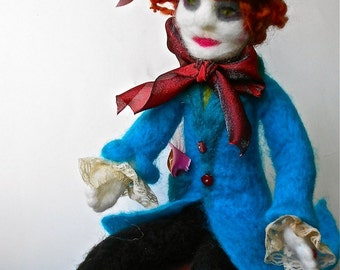 Mad Hatter Marvelous Unique Needle Felted Art Doll Collectible OOAK