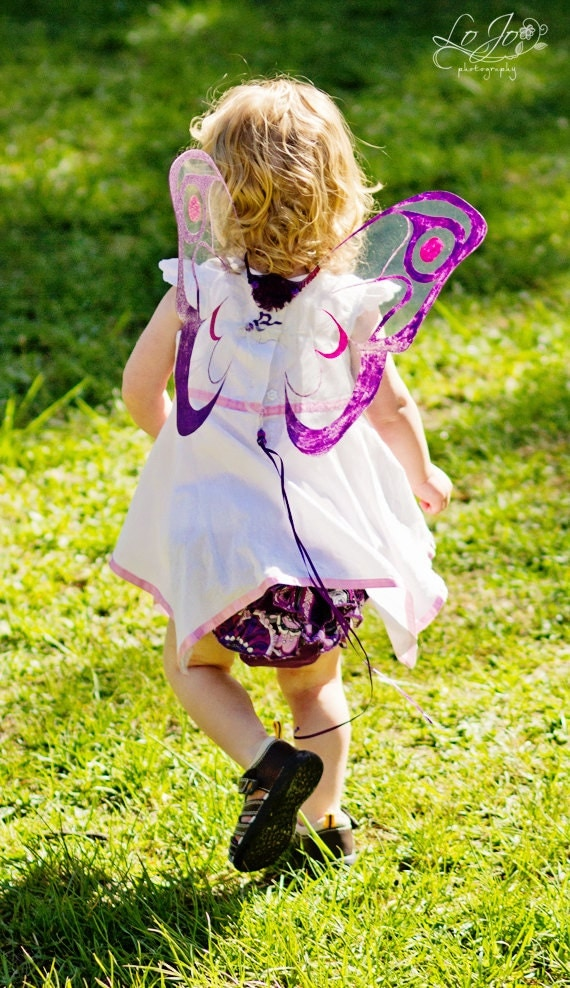 Fairy Wings in Purple and Pink, feathered Moth wings, photo prop, Teen or Children's costume wings