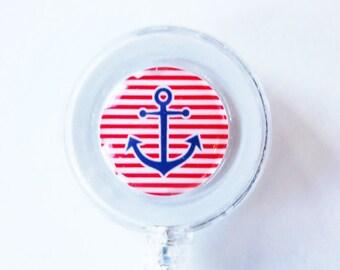ID Badge Holder, Retractable id, Badge clip, ahoy matey, sailing, nautical, anchor