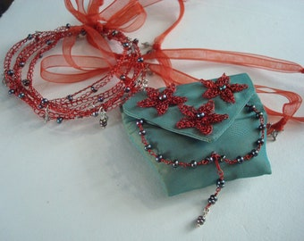 Crocheted Wire Amulet Necklace and Bracelet Set  Mixed Media