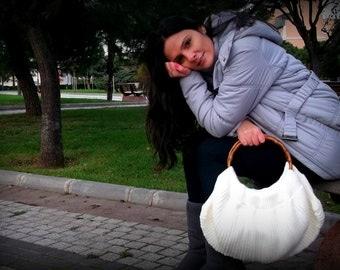 Sale,white Special Knitting Handbag,Shoulder Bag-bamboo handle,women bag,