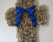 Vintage Book Paper Rosette Cross Wreath with Royal Blue Bow