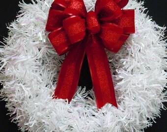 Holiday Christmas Red Bow Sparkle Red Velvet Christmas Bow Garland Decoration Bow Christmas Red wreath Bow Christmas door hanger Decoration