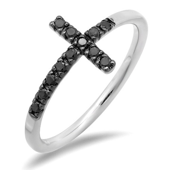 Black diamond sideways cross ring by jewelsdot on etsy