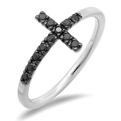 black sideways cross ring