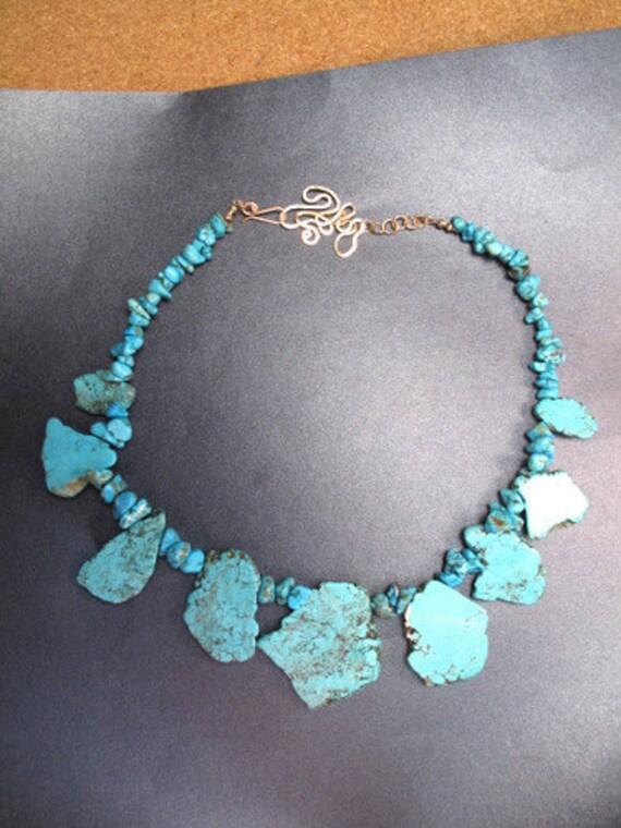 Large Turquoise Magnesite Chunks Necklace 315