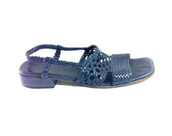 20 SALE -- 90s Woven Leather Sandals 9 - Navy Leather Cutout Sandals 9 - Italian Leather