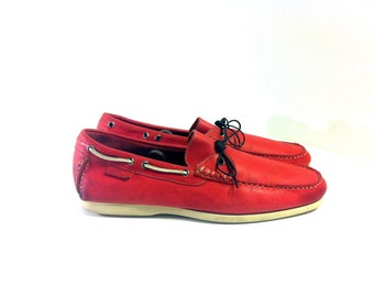 Men's Red Leather Boat Shoes 13 - Faconnable Italian Loafers 13 - Slip On Deck Shoes 13