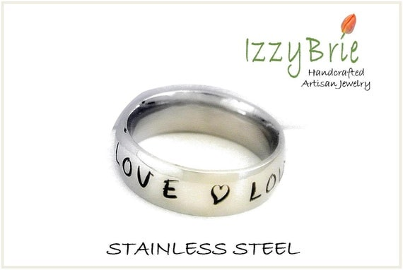 PERSONALIZED NAME Rings, Handstamped,  Polished finish stainless steel ring -  women or men