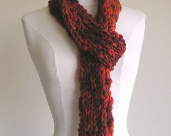 Clarissa Scarf - Chunky Wool - Long Skinny Scarf - Reds
