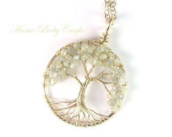 Diamond Tree of Life Necklace, CUSTOM, GENUINE Blue, White, or Black Diamonds, 14k gold-filled, Silver, Wire Mini Tree, Wedding Necklace