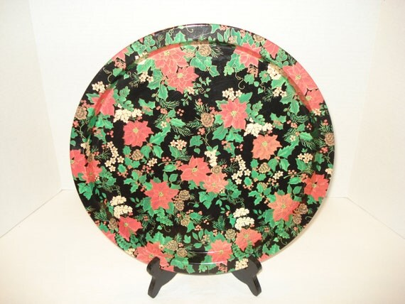 Vintage Christmas Poinsettia Tray Tin Floral Design Serving Tray