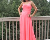 Sale Bright Coral/Pink 70s Maxi Dress