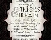 Printable Halloween Party Invitation - 5x7 - Dark Damask - Gothic, Vampire, Black, Red, Burgundy, Elegant, Skull