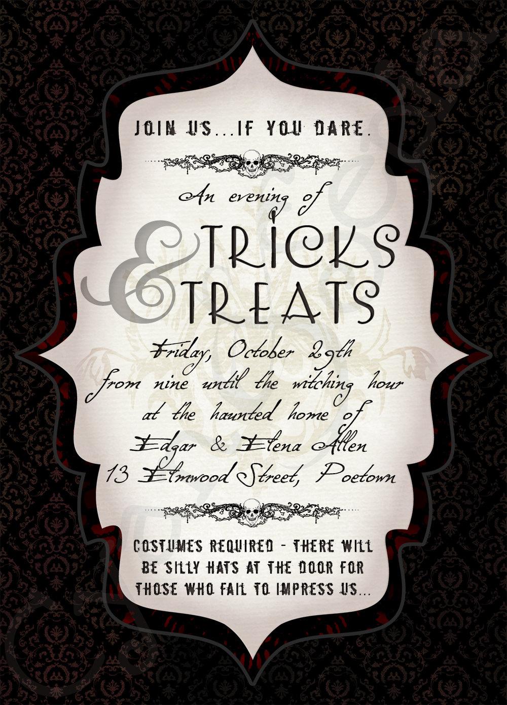 Printable Halloween Party Invitation 5x7 Dark By Cyanandsepia