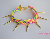 Gold Spikes and Neon Colorful Satin Cord Braided Bracelet - Handmade by PinkSugArt