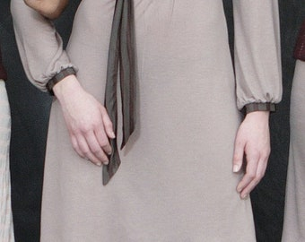 Long Sleeve Dress, Jersey Dress, Colorblock Dress, Sheath Dress, Midi Dress with Button Neckline in Taupe & Chocolate Supersoft Jersey