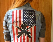 Custom made american flag w/ band logo back patch