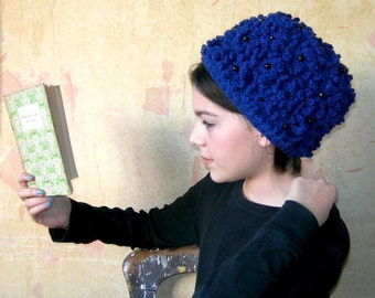 Hand knitted Blue Hat with Flowers. Retro design knitted hat