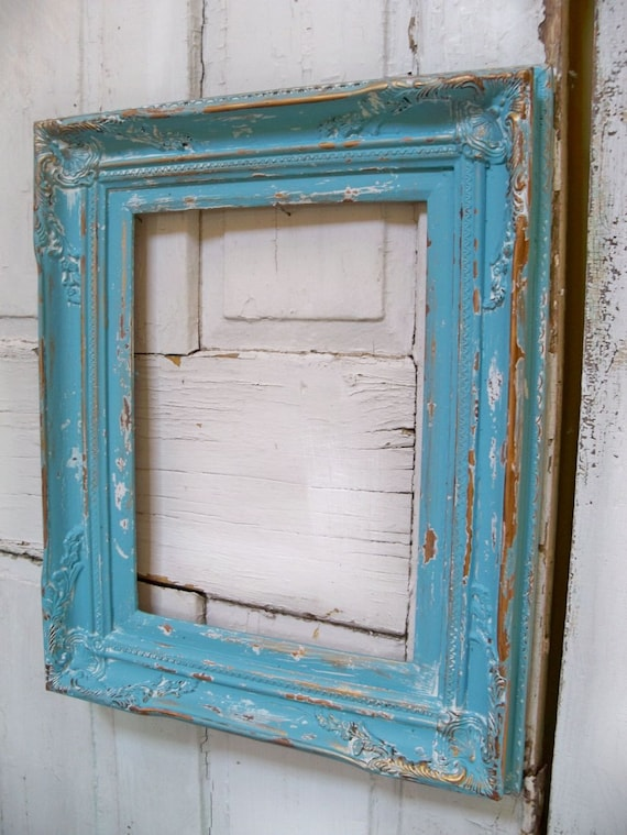 large blue wooden frame distressed beach cottage shabby wood wall decor anita spero - Distressed Wood Picture Frames
