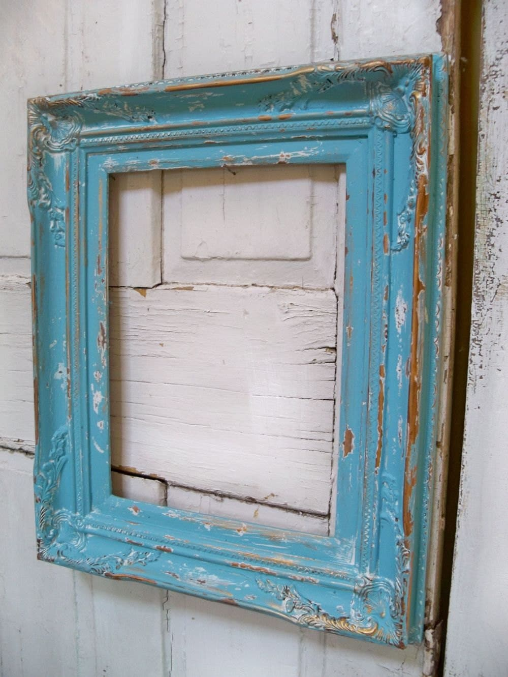 Large Blue Wooden Frame Distressed Beach Cottage Shabby Wood