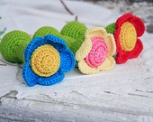 Organic teething toy Waldorf RATTLE Shower gift for babies Crochet FLOWER toy Gift for Baby girl