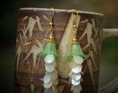 Beautiful Green Tulip and Shell Earrings