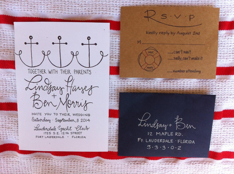 One Page Wedding Invitations: Nautical Wedding Invitation / Calligraphy Wedding Invitations