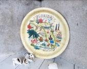 Florida Souvenir Plate /  Bamboo Platter / Beach Flamingo Palm Tree Bikini Girl Disney World Daytona Miami Everglades Panama / epsteam