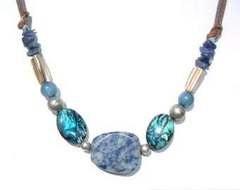 Fantastic Catalina and Ceil Blue Colored Stones and Abalone Shell Choker Necklace