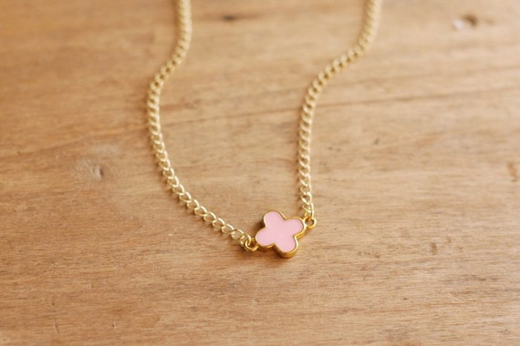 Pastel Pink and Gold Quatrefoil Necklace