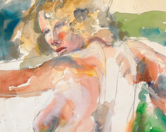 """Figure woman expressive multimedia digital print from my original mixed media painting, by artist Vernon Grant, Languid Woman, 10"""" x 10"""""""