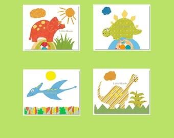 Baby Boy nursery Prints, Assorted Nursery Prints, Dinosaur Nursery Prints, Dino, Modern Nursery Art, Toddler Boy Wall Decor, Green and Blue