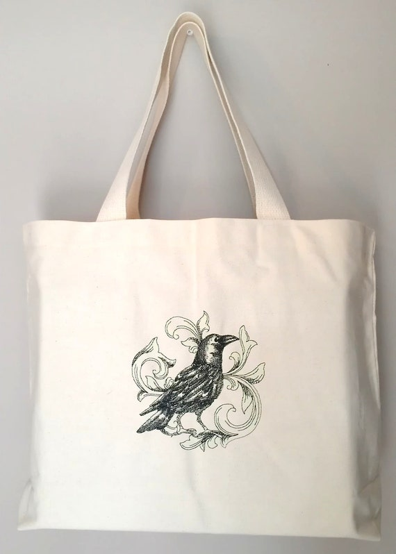 Raven Tote Bag Cotton Canvas Embroidery