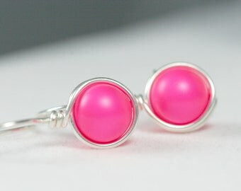 Neon Pink Earrings Wire Wrapped Jewelry Sterling Silver Earrings Hot Pink Earrings Neon Jewelry Neon Earrings Rose Gold Earrings