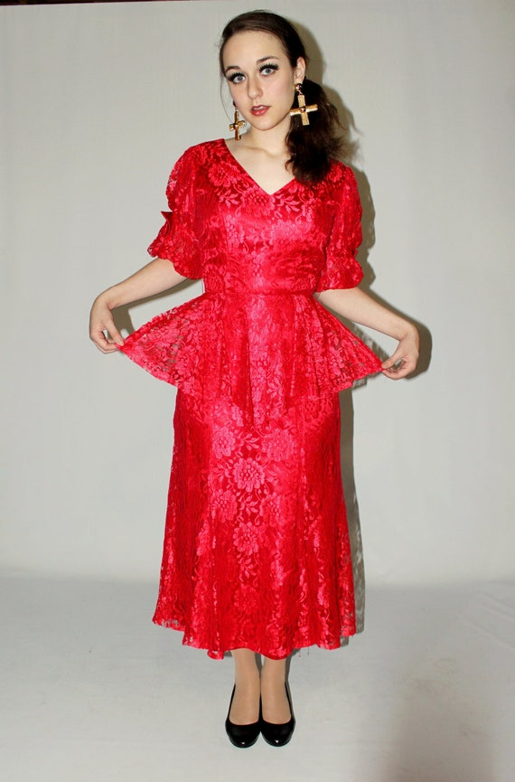 Red Lace Flamenco 1940s-Inspired Pinup Peplum Maxi Dress