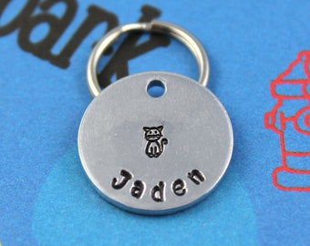 SMALL Cat Tag - Aluminum Customized Small Pet Tag - Personalized Cat Tag - Other Metals Available