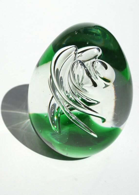 Heavy Mouth Blown Glass Bubble Air Twist Egg Paperwieght  Tornado Hurricane Vortex Captured Bubbles Emerald Green Pontil Mark