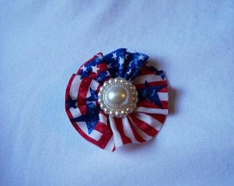 Patriotic Fabric Flower Clip