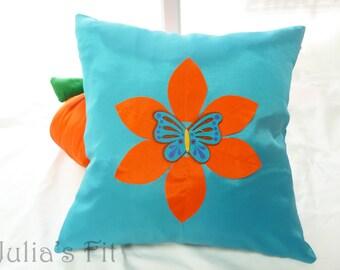 Turquoise Butterfly Pillow Cover Orange Flower, Silk Felt Applique