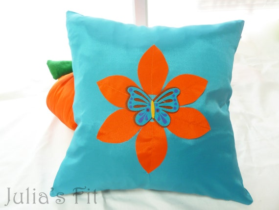 Turquoise Butterfly Pillow Cover Orange Flower, Silk Felt Applique
