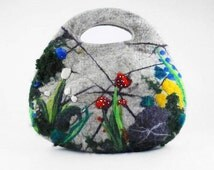 Felted Bag Nunofelt Handbag Purse Felt Nuno felt Eco mushroom grey gray fog silver fairy multicolor floral fantasyFiber Art boho