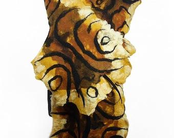 Felted Scarf Brown Scarf Nunofelt Wrap ART DECO shawl Tiger Scarf Wool Scarves Felt Scarf Nuno felt Silk