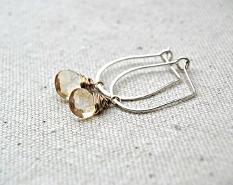 cheers... citrine mixed metal earrings / golden yellow citrine briolette, 14k gold filled & sterling silver horseshoe / november birthstone