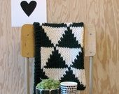 Knitted Triangle Pattern Baby Blanket for Bassinet, Stroller, or Car Seat