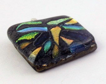Dichroic Fused Glass Pendant - Mosaic Orange Yellow Teal