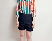 Vintage 1970's Secretary Blouse - Pussy Bow Blouse - Teal Orange Striped Shirt - CircusFreakVintage